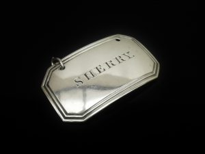 Silver SHERRY Decanter Label, Birmingham 1835, Joseph Willmore