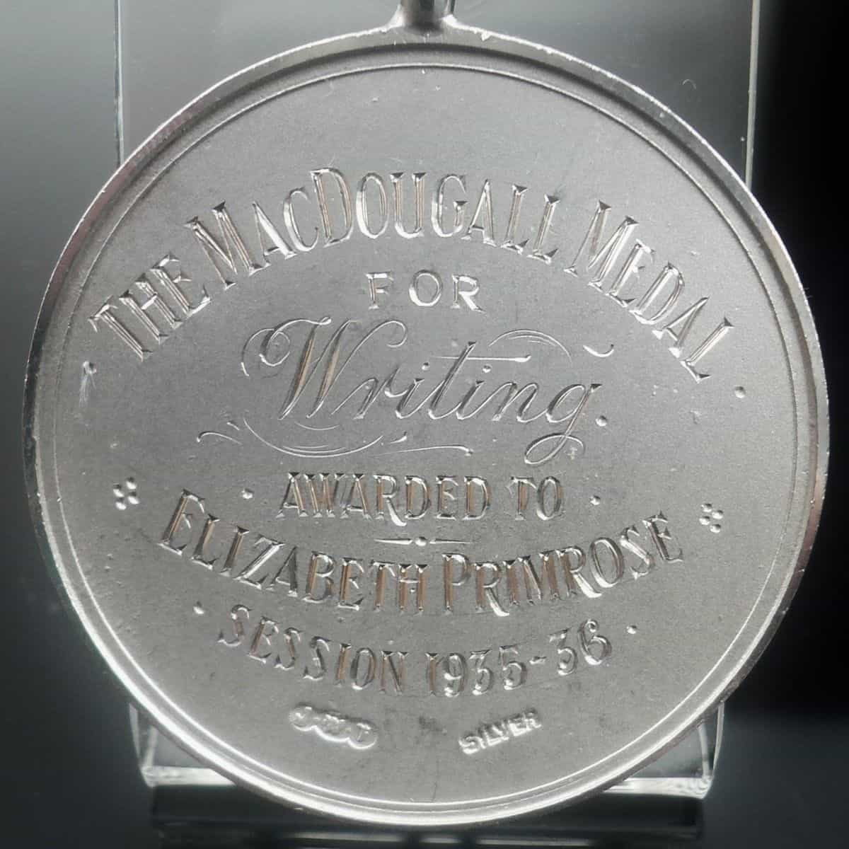Silver Writing Medal, Sterling, Calligraphy, McDougall Medal, 1935-36
