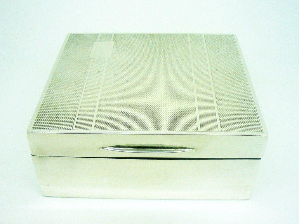 Art Deco Silver Cigarette Box Beddoes Amp Co Birmingham