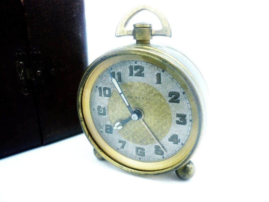 Vintage Zenith Travel Alarm Clock Original Case Swiss