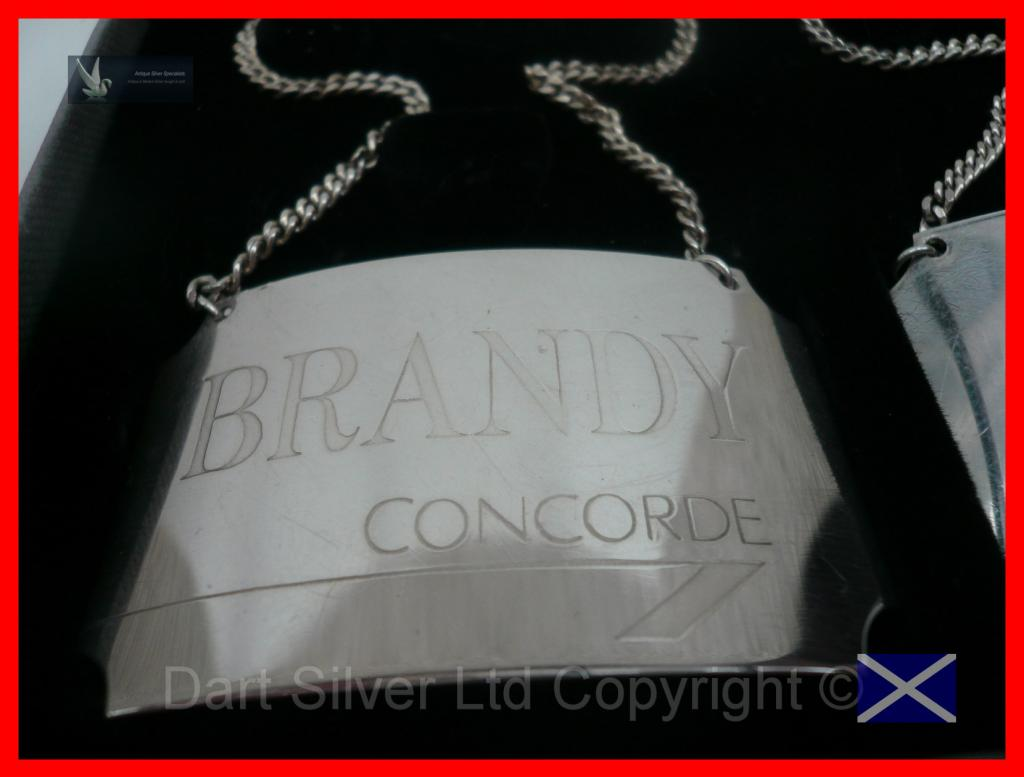 Silver Concorde Decanter Labels 1986 Dart Silver Ltd