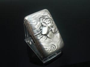 American Art Nouveau Silver Cigarette Case, Unger Brothers c.1904