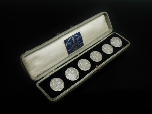 6 Art Nouveau Silver Buttons, Robert Friederich, London 1905
