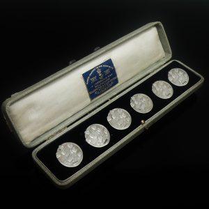 6 Art Nouveau Silver Buttons, Robert Friederich, London 1905