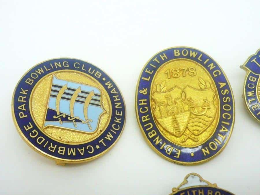 8 Good Vintage Bowling Club Enamel Badges