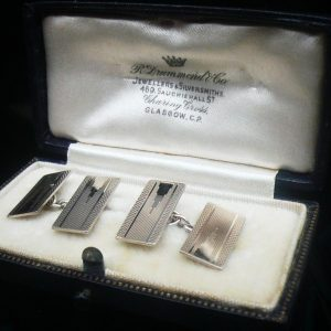 Art Deco Cufflinks in Case, 9ct Gold on Sterling Silver, Vintage c.1930's