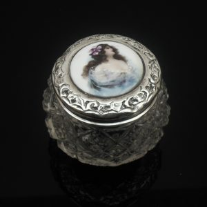 Antique Silver Rouge Jar, Hand Painted Ceramic Top 1905