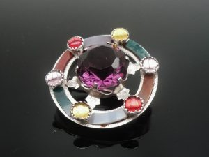 Scottish Silver Agate Amethyst Brooch c.1950's