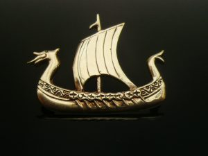 Ola Gorie 9ct Gold Brooch, Viking Longship 1973