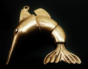 9ct Gold Swordfish Charm, Articulated, Hallmarked 1967