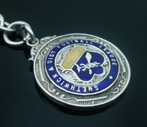 Silver Enamel Watch Fob Medal, Smethick District Football 1921-22