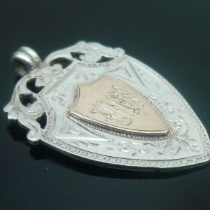 Silver Rose Gold Watch Fob Medal, Diving 1907