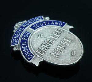 Silver Nursing Badge Enamel, Enrolled Nurse, General Nursing Scotland 1963