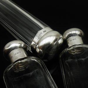 3 Silver Topped Bottles, 2 Cologne Scent & 1 Hatpin, Eugene Henry Posen 1907