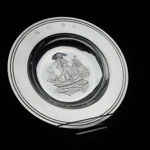 Silver Mayflower Armada Dish, London 1969, C J Vander Ltd