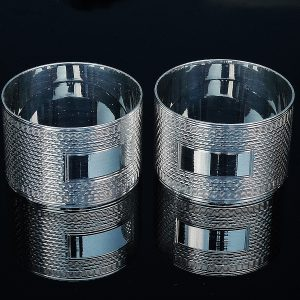 Pair Sterling Silver Napkin Rings in Case, Birmingham 1944, H Bros