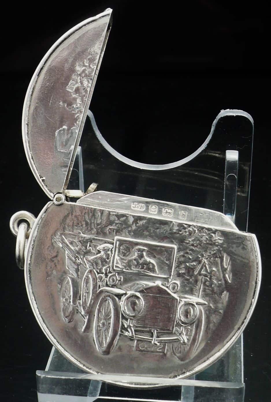 Circular Sterling Silver Vesta Case Birmingham 1907