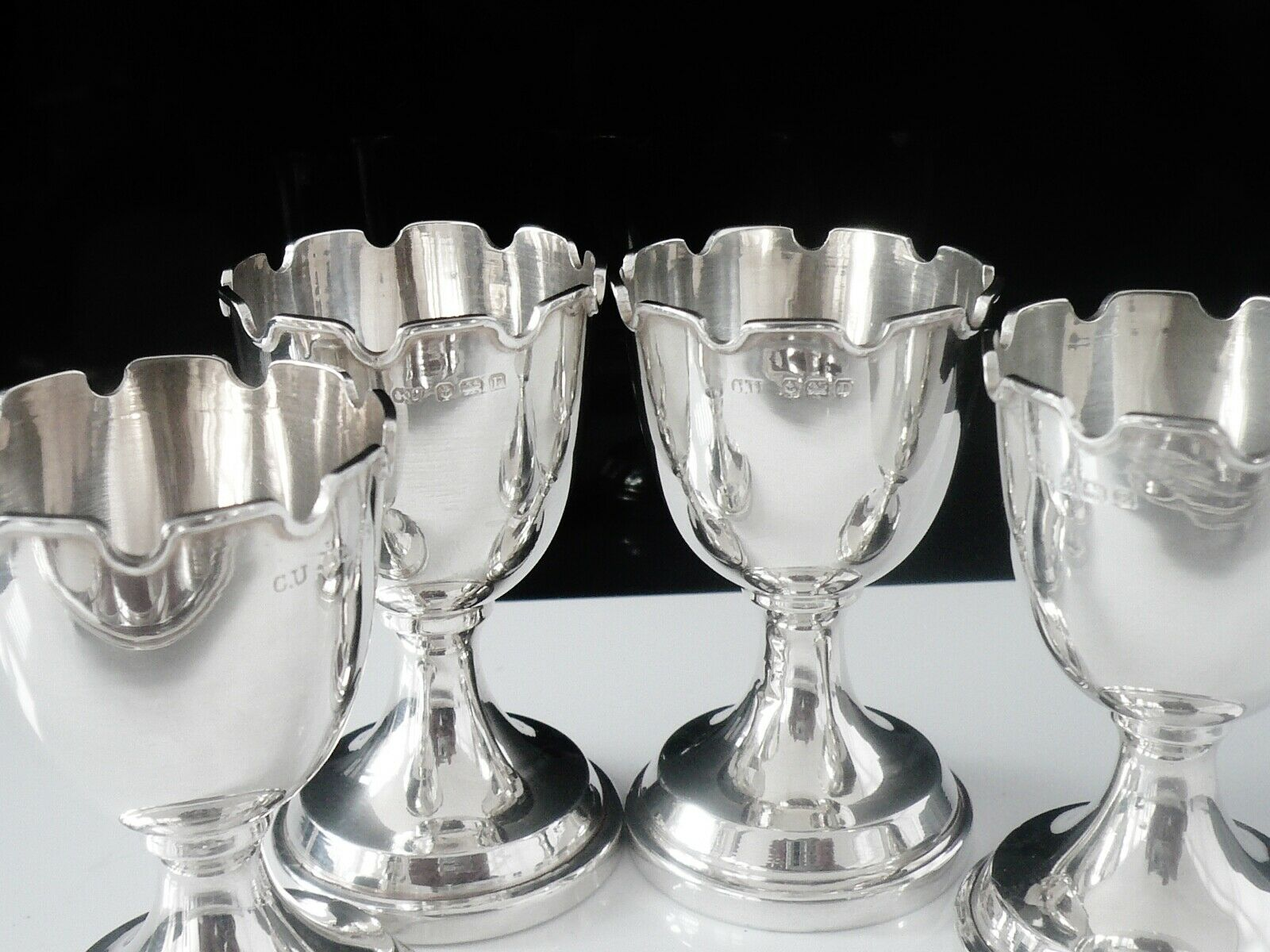 Sterling Silver Egg Cups Stand Set 4 Charles Usher