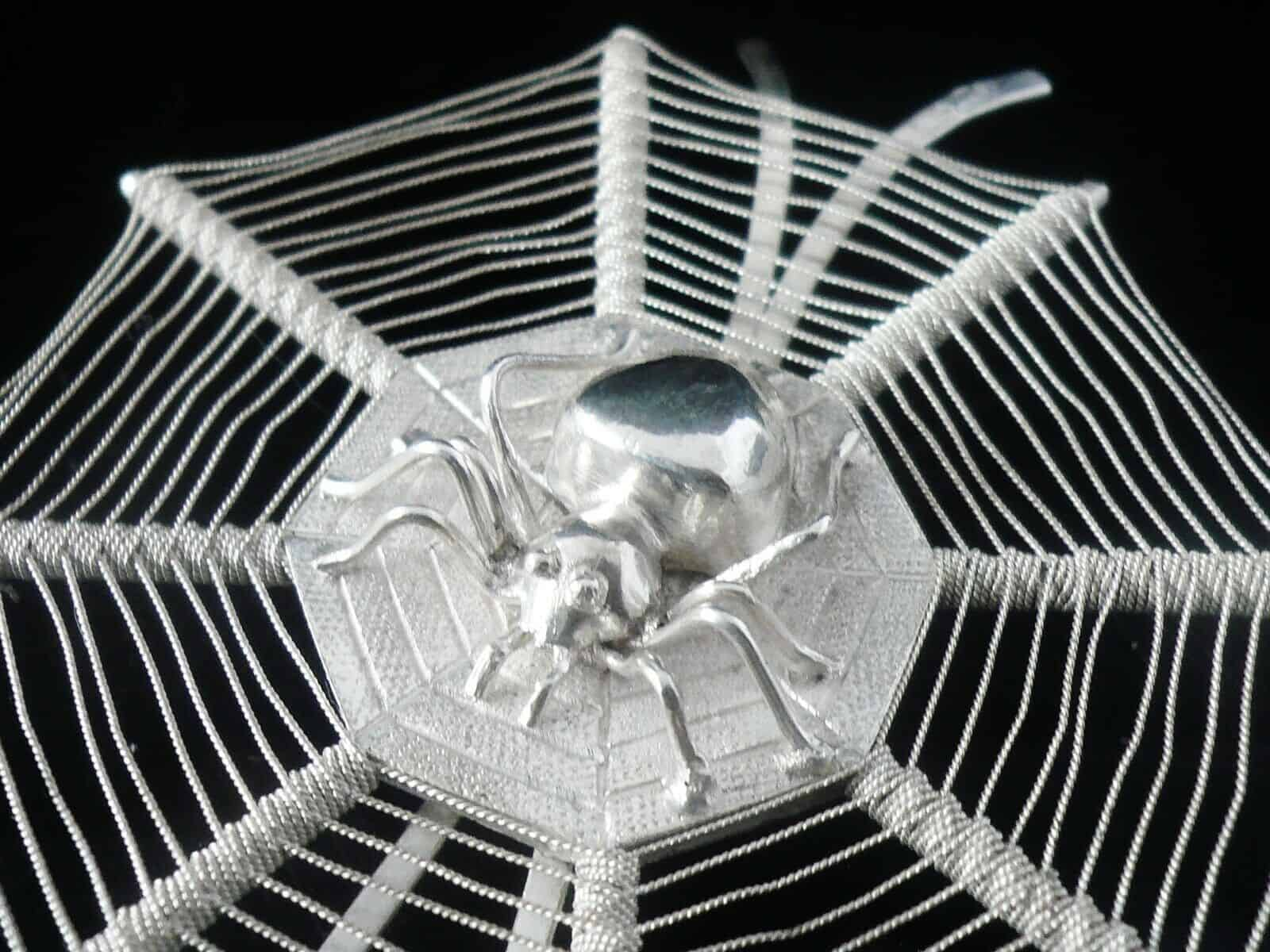 Chinese Export Silver Spiders Web Menu Holder Leun Hing Shanghai c.1910