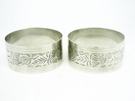 Silver Napkin Rings, Sterling, Serviette, Scottish Thistles, Hallmarked 1966, John Rose, REF:294F