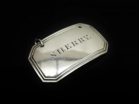 Silver SHERRY Decanter Label, Birmingham 1835, Joseph Willmore