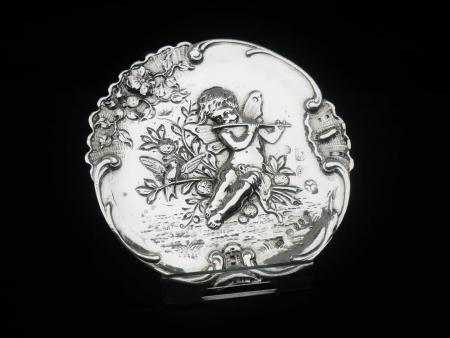 Antique Silver Pin Dish Cherub & Flute, London 1891, Lewis Lewis