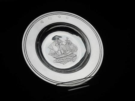 Silver Mayflower Armada Dish, London 1969, C J Vander Ltd