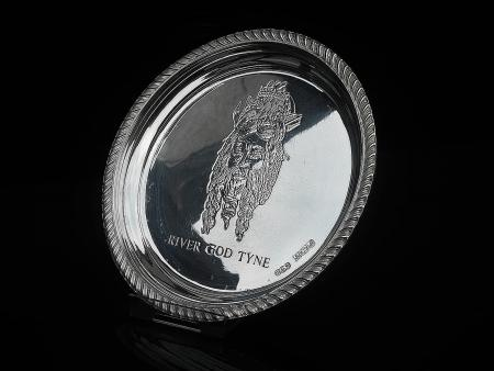 Sterling Silver Dish, River God TYNE, Birmingham 1975, Reid & Sons Ltd