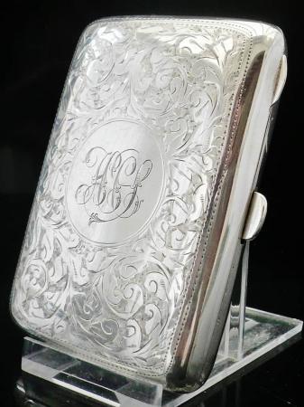 Bright Cut Silver Cigarette Case, Chester 1916, Clark & Sewell