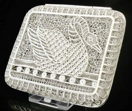 Top Quality Silver Filagree Cigarette Case in Box, Turkish Tughra 20th Century