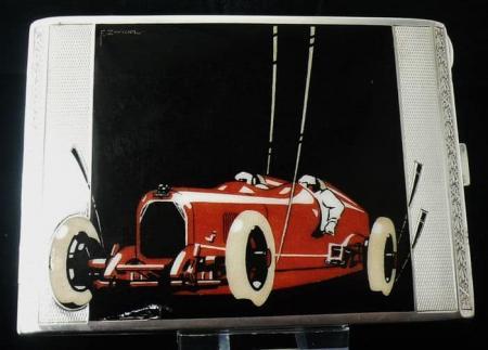 Rare Austrian Silver & Enamel Daimler Cigarette Case, c.1930, E.Zwickl