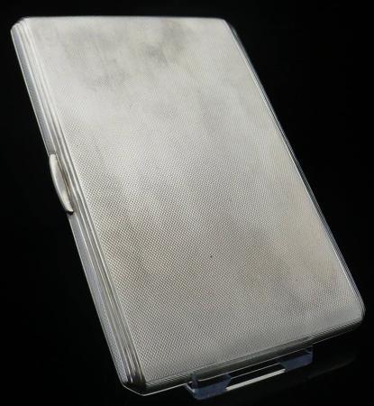 LARGE Sterling Silver Cigarette Case, Birmingham 1952, A Wilcox