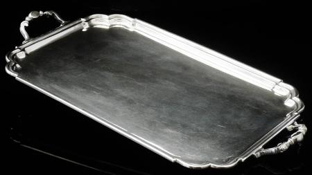 Large Silver Serving Tray, Sheffield 1945, William Suckling Ltd, 75 oz
