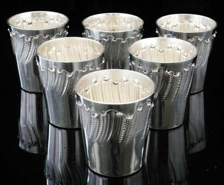 Set of 6 French Antique Silver Shot Glasses, Ytasse & Fourneret, Paris,