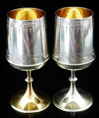 Pair of Large Silver Goblets, Birmingham 1876, Elkington & Co