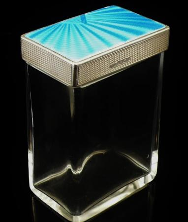 Art Deco Silver Guilloche Enamel Glass Rectangular Jar, Birmingham 1933