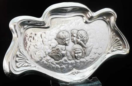 Art Nouveau Reynolds Angels Silver Tray, Birmingham 1905