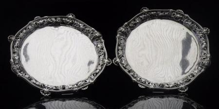 Pair Antique George Wickes Silver Salvers, London 1742