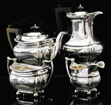Large 4 Piece Silver Teaset, Birmingham 1913, Thomas Edward Atkins