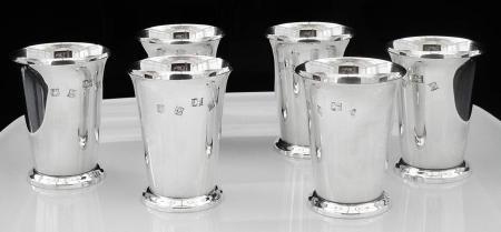 Immaculate Set of 6 Silver Beakers, Birmingham 1971, Barker Ellis Silver Co
