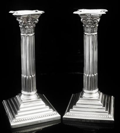Pair Silver Candlesticks, Sheffield 1910, Martin, Hall & Co