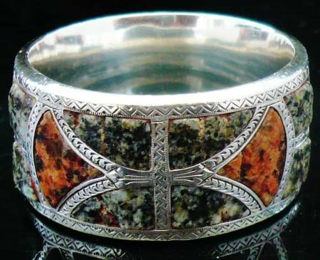 Silver & Scottish Agate or Granite Napkin Ring, Birmingham 1897, Joseph Cook & S