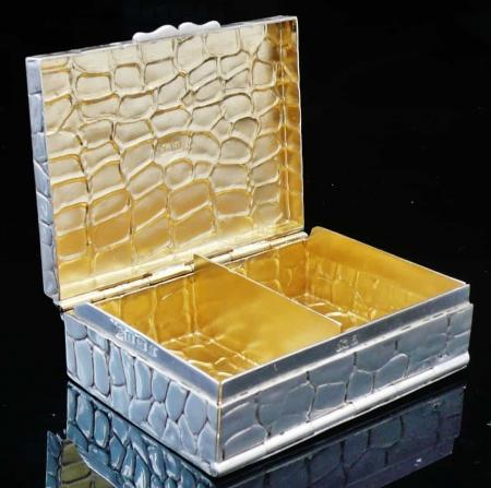 Exceptional 2 Compartment Silver Card Box, Birmingham 1900, Lawrence Emanuel