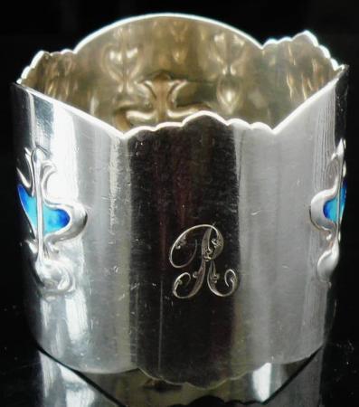 Art Nouveau Silver Enamel Napkin Ring