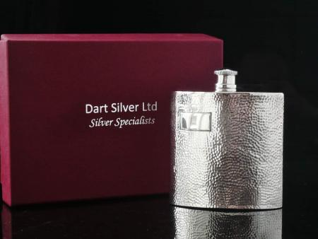 NEW Silver Hip Flask, Scottish Hallmarked, Planished