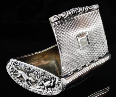 Antique Hunting Theme Silver Snuff Box