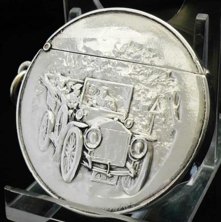 Circular Sterling Silver Vesta Case