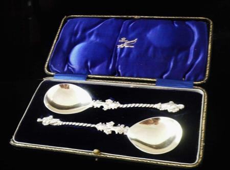 English Sterling Silver Apostle Serving Spoons