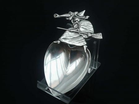 American Silver Salem Witch Caddy Spoon, Daniel Low c.1895