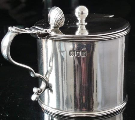 Large Sterling Silver Drum Mustard Pot